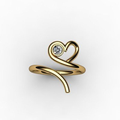Heart Design Diamond 0.10 ctw Round Ring 18kt W/Y Gold