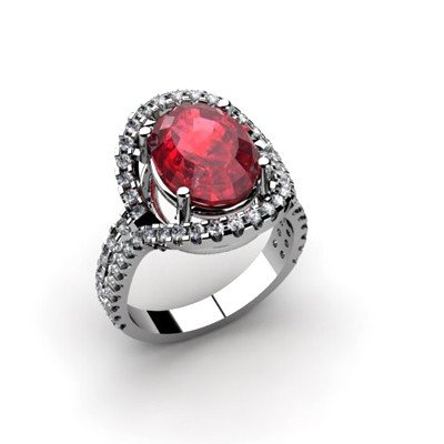 Ruby 4.92 ctw & Diamond Ring 18kt W/Y  Gold