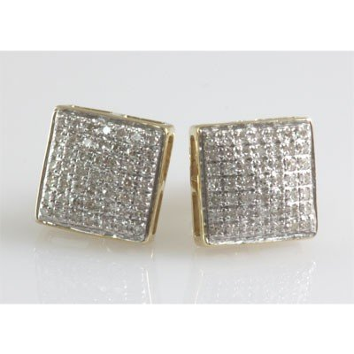 Genuine 0.37 ctw Round Cut Diamond Screw Back Earring