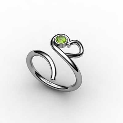 Peridot 0.12 ctw Heart Design Ring 18kt W/Y Gold