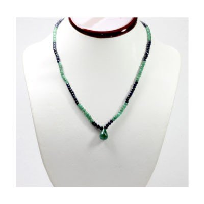 Natural 91.21 ctw Emerald Sapphire Bead Necklace