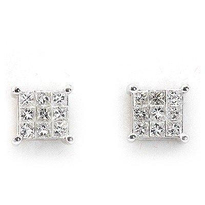 Genuine 0.4 ctw Diamond Square Invisible Earring 14k