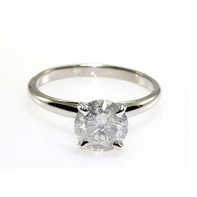 Solitaire Ring Round Diamond 1.72ctw 14k White Gold