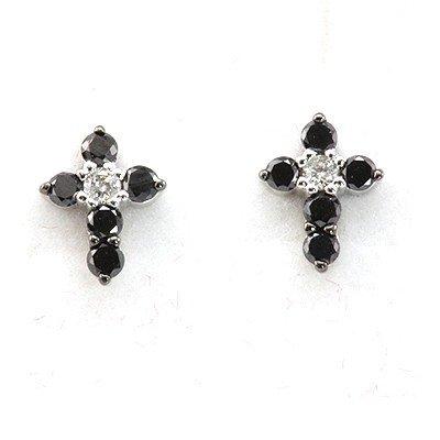 Genuine 0.28 Ctw Black Diamond Cross Earring 14k