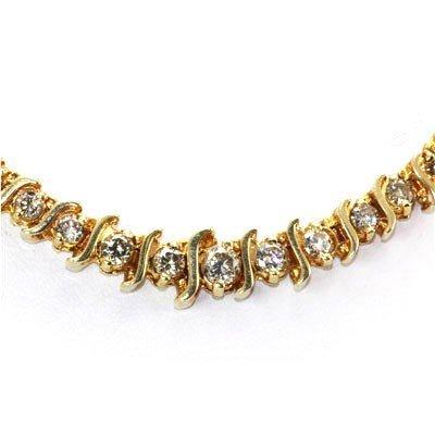 Genuine Diamond Tennis Necklace 3.75 ctw 14KT Gold
