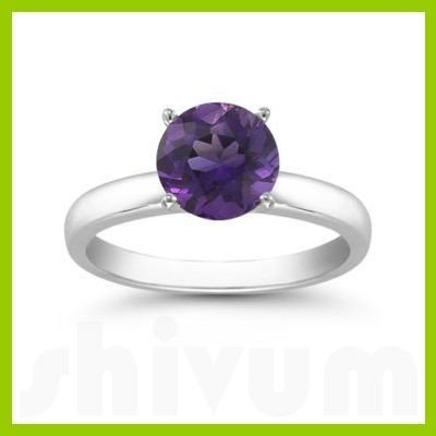 Genuine 1.25 ctw Amethyst Solitaire Ring 14kt