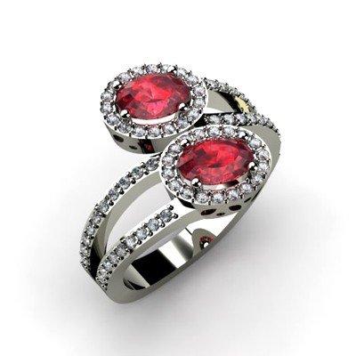 Ruby 1.53 ctw & Diamond Ring 18kt W/Y  Gold
