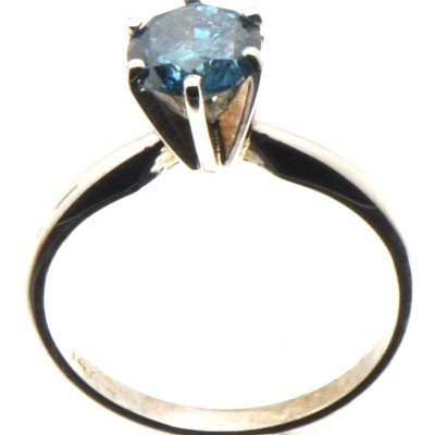 Genuine Blue Diamond 1.0 ctw & Diamond Ring 14KTGold 6