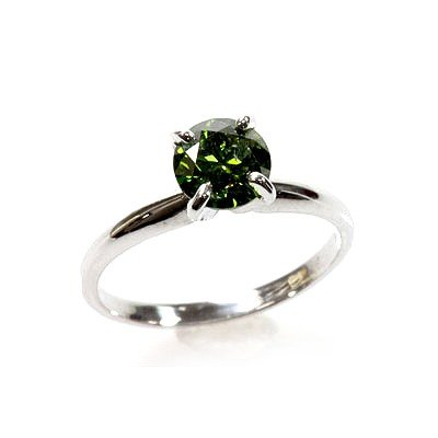 Natural 1.00 ctw  Green Diamond Solitaire Ring