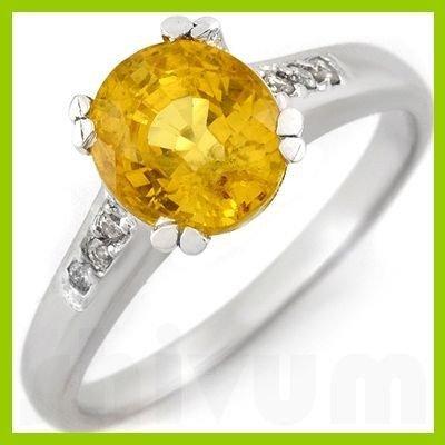Genuine 2.50 ctw Yellow Sapphire & Diamond Ring 10kt