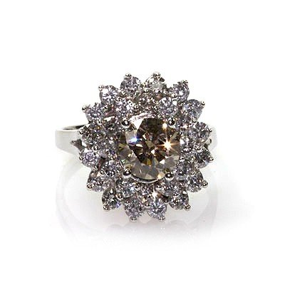 Natural  4.0 ctw Chocolate & Diamond Cluster Ring