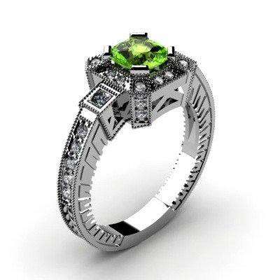 Genuine 1.68 ctw Green Tourmaline Diamond Ring 10k