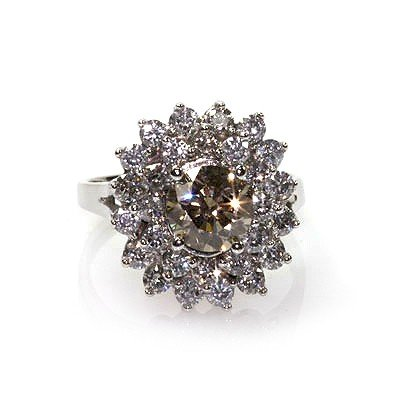 Natural  4.07 ctw Chocolate & Diamond Cluster Ring