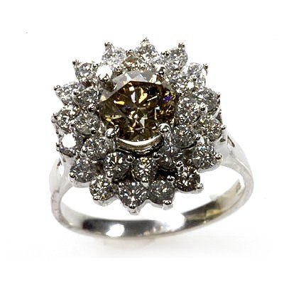 Natural  4.07 ctw Chocolate & Diamond Cluster Ring - 2