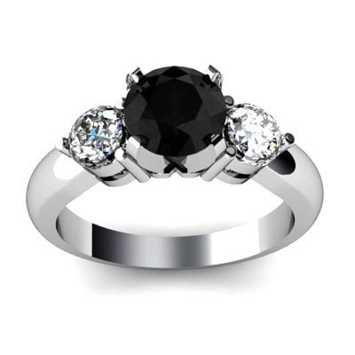 Genuine 1.4 ctw Black Diamond Ring Wh/Yllw Gold 14kt