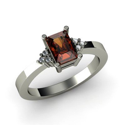 Genuine 0.86 ctw Garnet Diamond Ring 14k