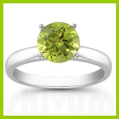 Genuine 1.25 ctw Peridot Solitaire Ring 14kt
