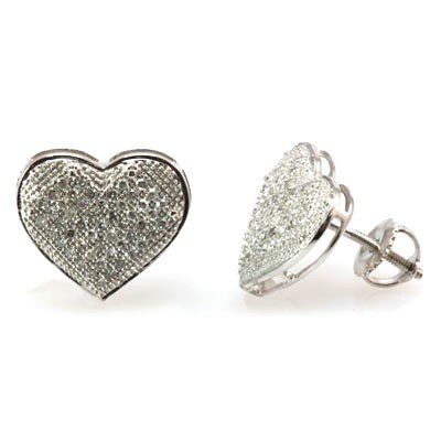 Genuine 0.35 ctw Diamond Puff Pave Heart Earring 10k