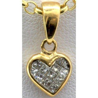 Genuine 0.22 ctw Diamond Invisible Heart Pendant 18k