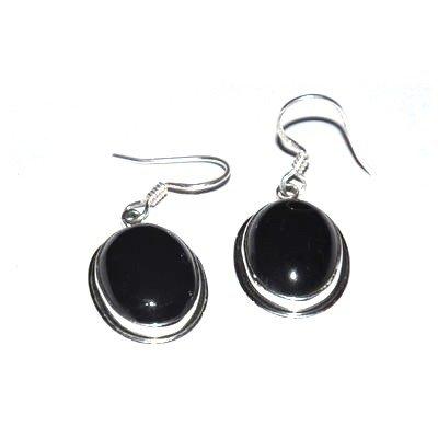 Silver Black Onex Oval Earring