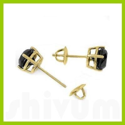 Genuine 1.0 ctw Black Diamond Stud Earrings 14kt