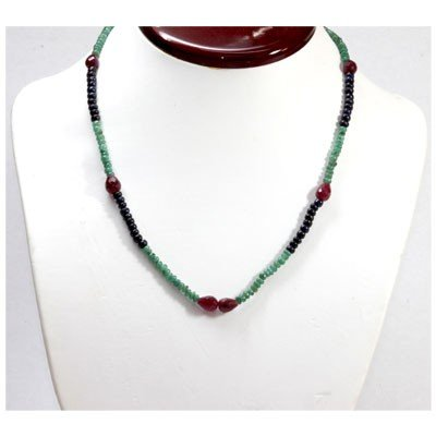 Natural 86.09 ctw Emerald Sapphire Ruby Bead Necklace