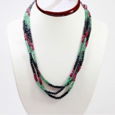 Natural 172.65 ctw Emerald, Ruby Sapphire Bead Necklace