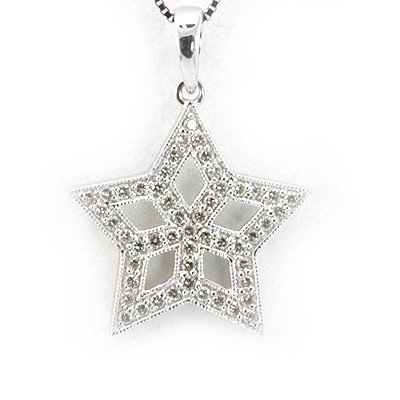 Genuine 0.26 ctw Diamond Star Necklace 14K White Gold