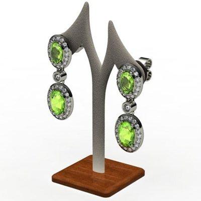 Peridot 3.70 ctw Diamond Dangling Earring 18k W/Y Gold