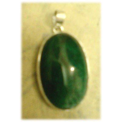 Oval Shape Emerald Gemstone set in Silver Pendant