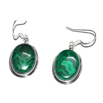 Silver Green Onex Oval Earring
