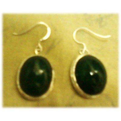 Emerald Gemstone in Silver Earring .925