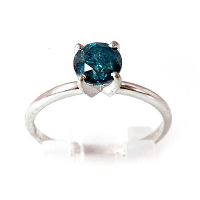 Genuine  Blue Diamond Solitaire 1.2 ctw Ring 14k