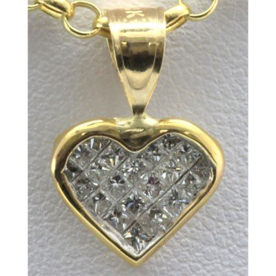 Genuine 0.45 ctw Diamond Invisible Heart Pendant 14k