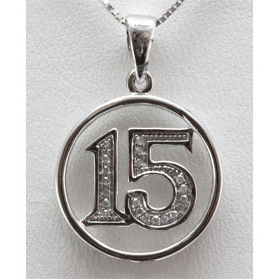 Genuine 0.07 ctw Diamond #15 Pendant inside Circle 14k