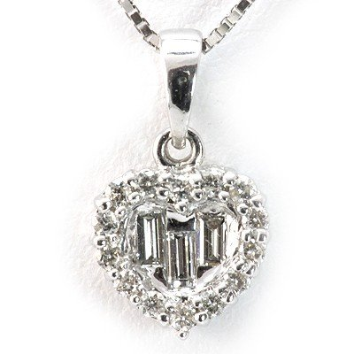 Genuine 0.18 ctw Diamond Heart Necklace 18K White Gold