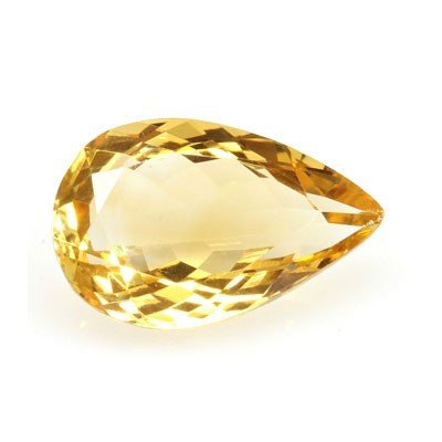 Natural Citrine 4.30 ctw pear Cut checkered 15x10mm