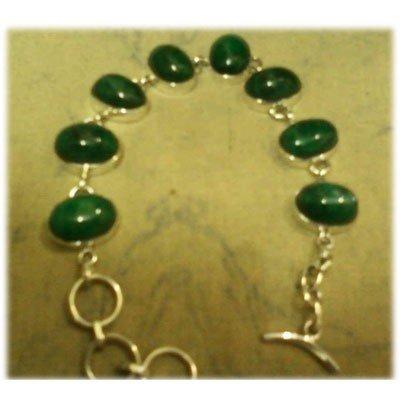 Emerald Gemstone in Silver Bracelet