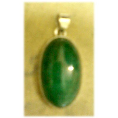 Oval Emerald Gemstone in Silver Pendant