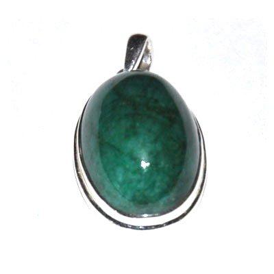 Silver Emerald Cabochon Pendant