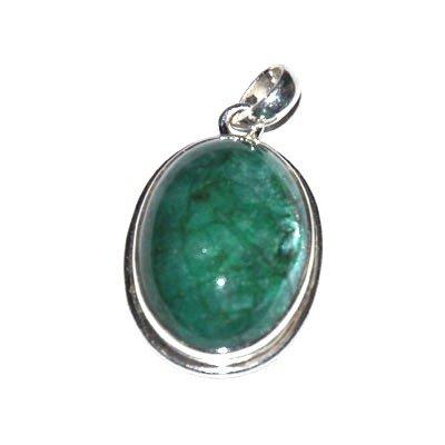 Silver Emerald Cabochon Oval Pendant