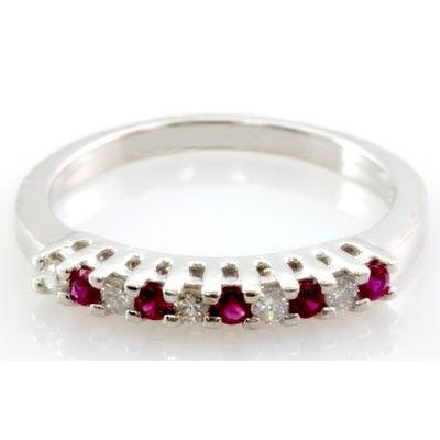 Genuine 0.36 ctw Ruby Diamond Ring 14k W/Y Gold