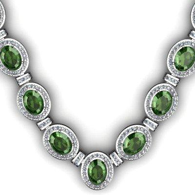 34.35 ctw Tourmaline Diamond Necklace 925 Sterling Silv