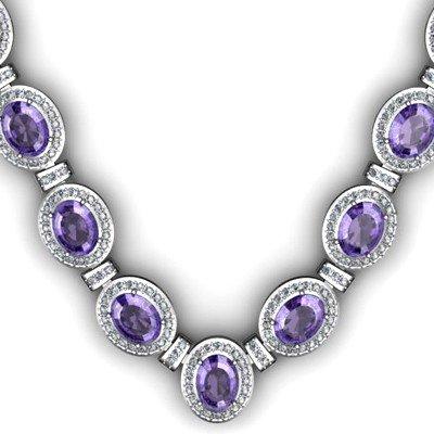 38.6 ctw Tanzanite Diamond Necklace 925 Sterling Silver