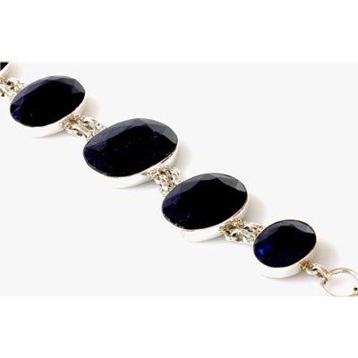 246.49 ctw Sapphire 0.925 Sterling Silver Bracelet