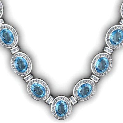 44.85 ctw Topaz Diamond Necklace 925 Sterling Silver