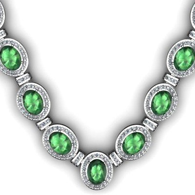 36.35 ctw Emerald Diamond Necklace 925 Sterling Silver