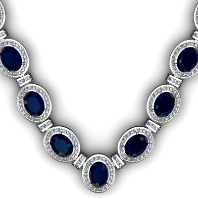 43.60 ctw Sapphire Diamond Necklace 925 Sterling Silver
