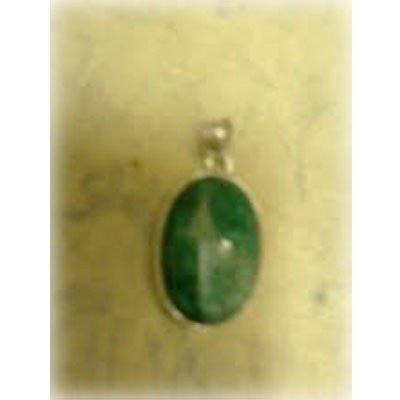 Emerald Gemstone in Silver Pendant