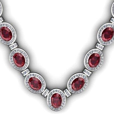 39.85 ctw Garnet Diamond Necklace 925 Sterling Silver